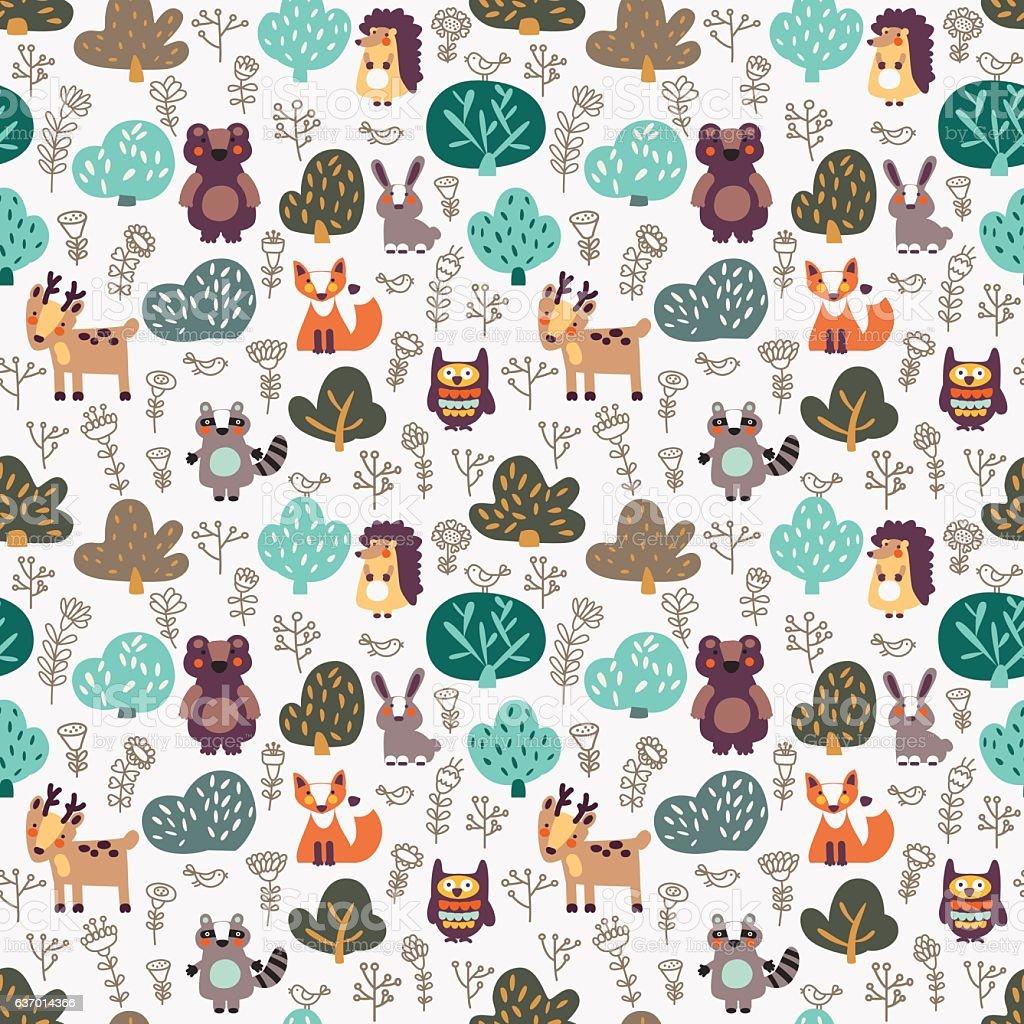 8472f613fca739 Lustige Tier nahtlose Muster mit wilden Tiere im Wald Lizenzfreies lustige  tier nahtlose muster mit wilden