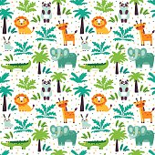 Funny animal seamless pattern made of wild animals in jungle
