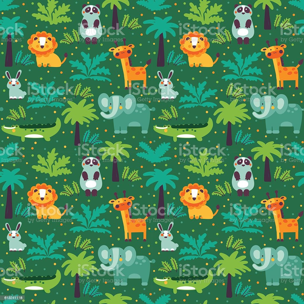 Funny animal seamless pattern made of wild animals in jungle vector art illustration