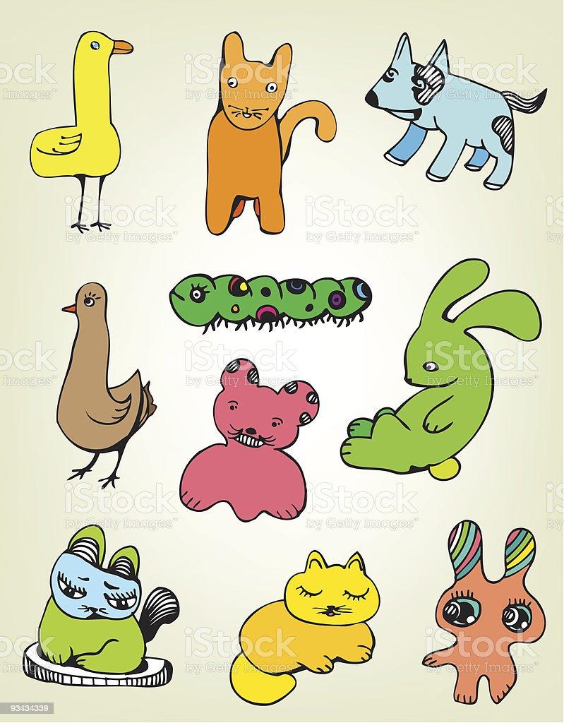 Lustige Tier Set Lizenzfreies lustige tier set stock vektor art und mehr bilder von charakterkopf