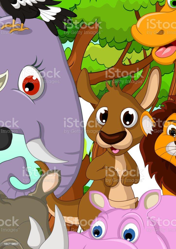 Dr le danimaux sauvages dessin anim avec fond de la for t - Images d animaux sauvages gratuites ...