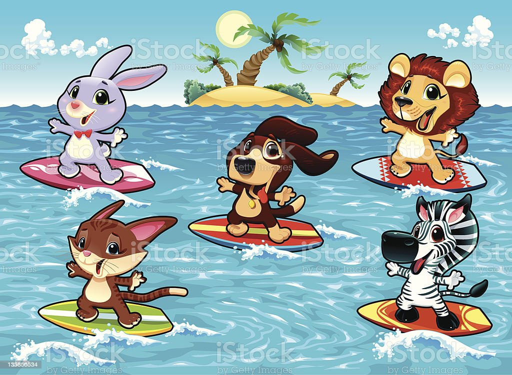 Funny animals are surfing in the sea
