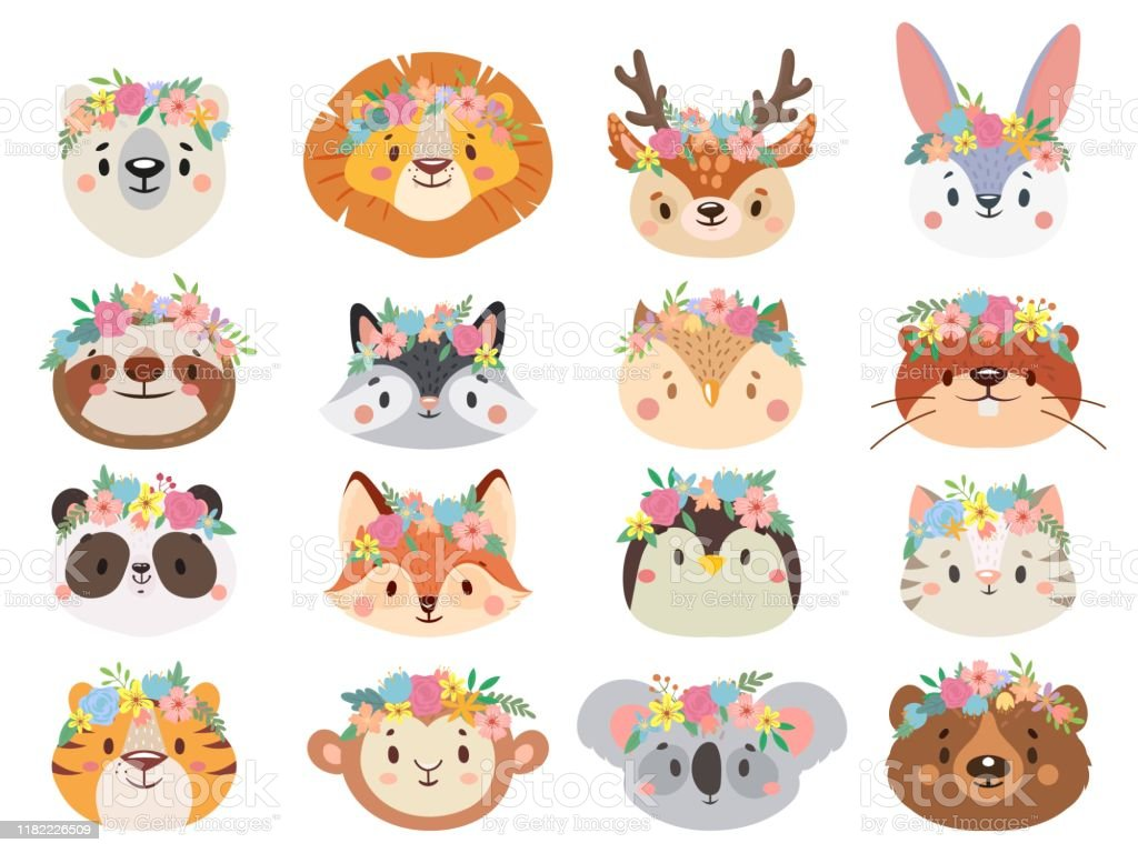 Funny animals in flower wreaths. Happy animal head with flower, fun...