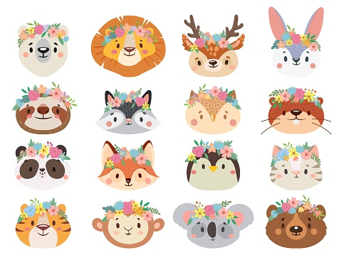 Funny animals in flower wreaths. Happy animal head with flower, fun cat and pet face in wreath vector set