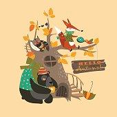 Funny animals on the autumn tree. Vector illustration