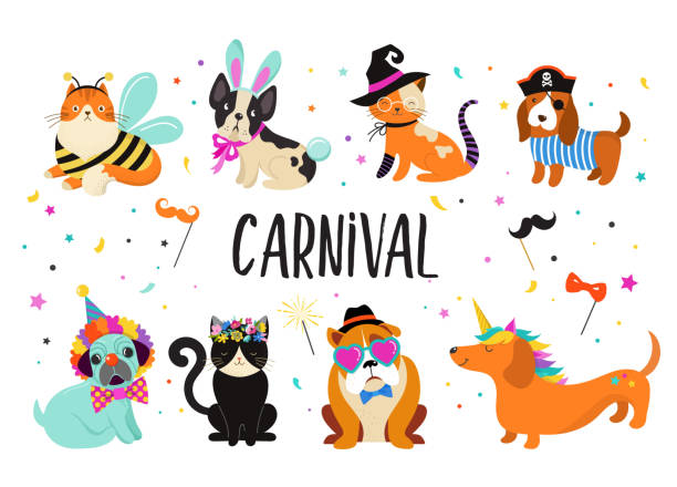 Funny animals, pets. Cute dogs and cats with a colorful carnival costumes, vector illustration Funny animals, pets. Cute dogs and cats with a colorful carnival costumes, vector illustration template animal costume stock illustrations