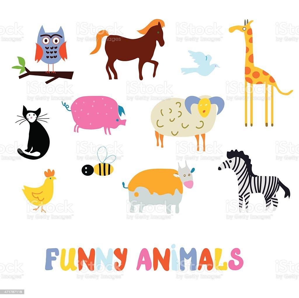 面白い動物セットシンプルなデザイン - 2015年のベクターアート素材や
