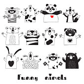 Funny Animals Tiger Pig Bear Fox Sheep Cat Pug Panda Rabbit for the design of childrens parties, rooms, stickers, posters, t-shirts