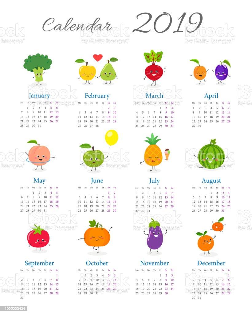 Curioso calendario anual 2019 - ilustración de arte vectorial