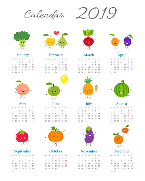 ilustraciones, imágenes clip art, dibujos animados e iconos de stock de curioso calendario anual 2019 - tipos de letra de historietas