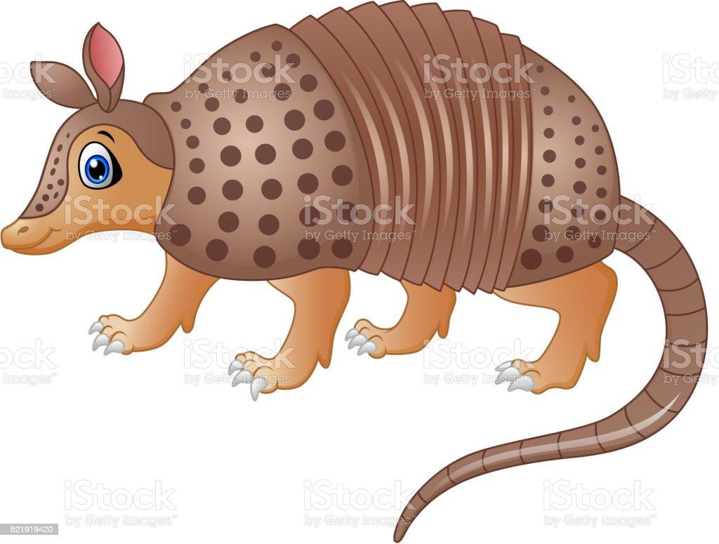 Funny armadillo cartoon vector art illustration