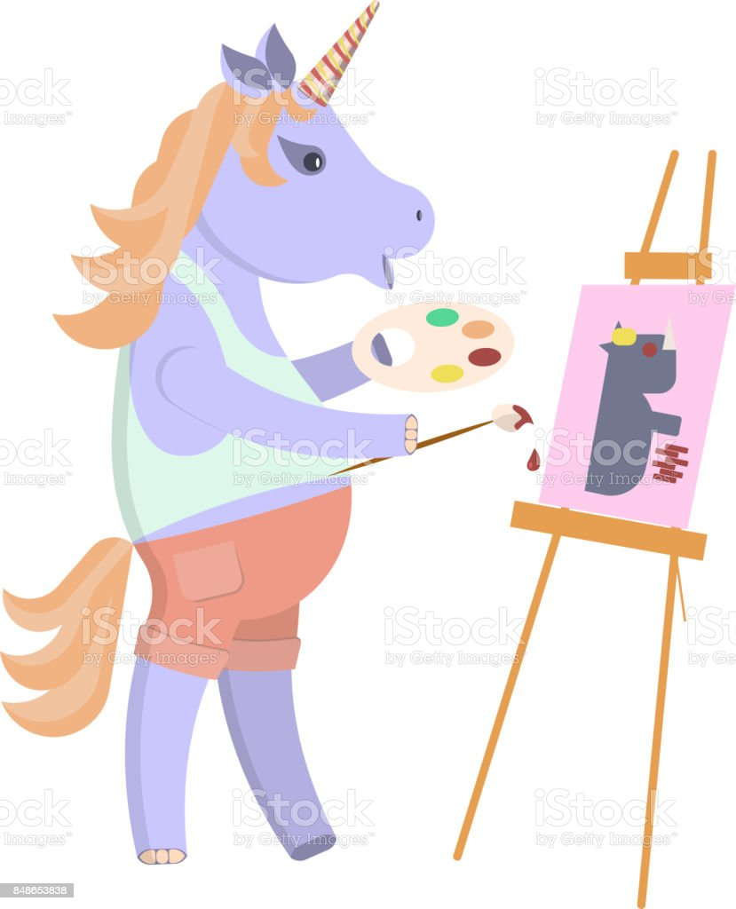 Funny artist animal character vector art illustration