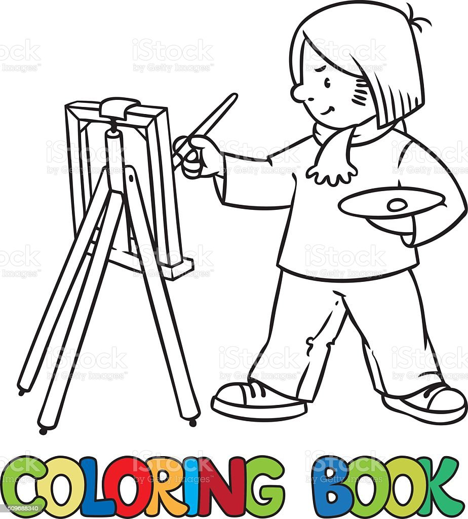 Funny Artist Or Painter Coloring Book Stock Vector Art & More Images ...