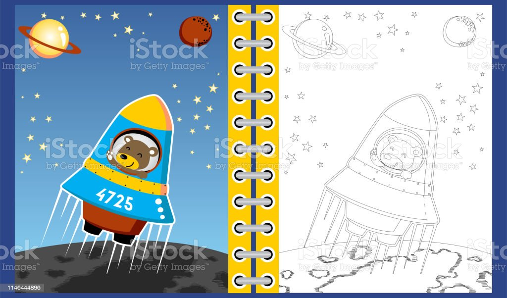 Uzayda Roket Uzerinde Komik Astronaout Karikatur Boyama