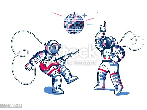 Funny astronauts playing guitar and dancing to disco in spacesuits. Man listening and playing funky disco music on white background. Space exploration fun entertainment vector illustration