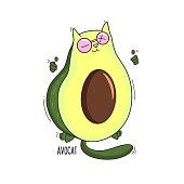 Funny avocado cat Illustration cartoon print design