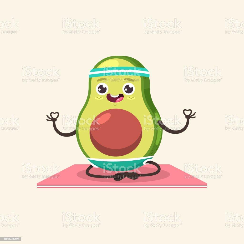 Funny Avocado Kid In Yoga Pose Cute Vector Cartoon Fruit ...