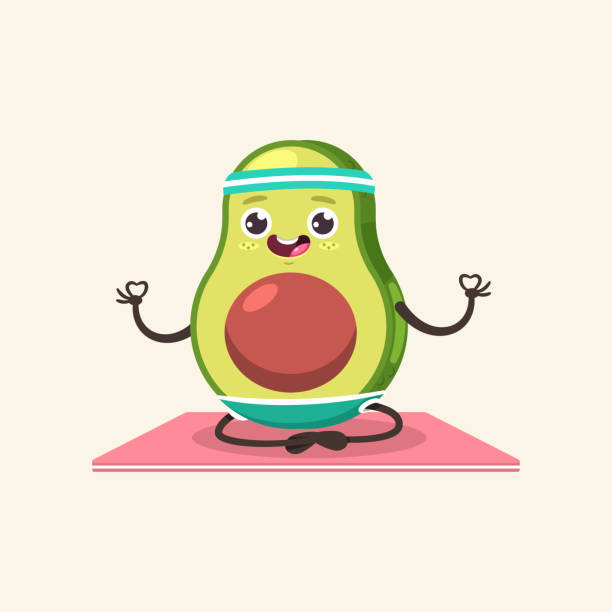 Funny Avocado kid in yoga pose. Cute vector cartoon fruit character isolated on a background. Eating healthy and fitness. Yoga fruit doing exercises in different poses vector cartoon character. avocado clipart stock illustrations
