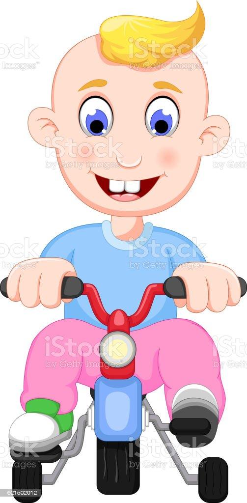 funny baby cartoon playing bicycle Lizenzfreies funny baby cartoon playing bicycle stock vektor art und mehr bilder von comic - kunstwerk