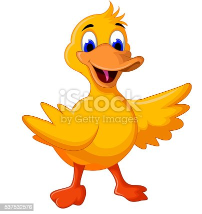 Tecknad Duck The Cleaner Maskot Håller En Dammsugare Och