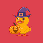 Funny baby duck in a witch hat and pumpkin. Vector cartoon bird character isolated on background. Halloween concept illustration.