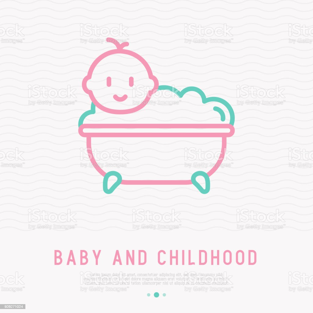 Funny Baby In Bathtub With Bubbles Thin Line Icon Modern Vector ...
