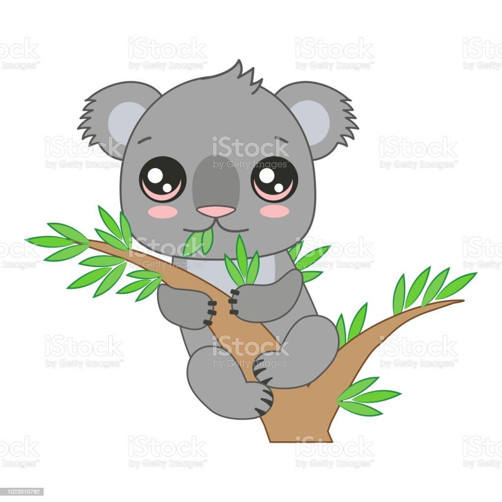 Lustige Baby Koala Hangen Des Bambus Cartoonvektorillustration Stock