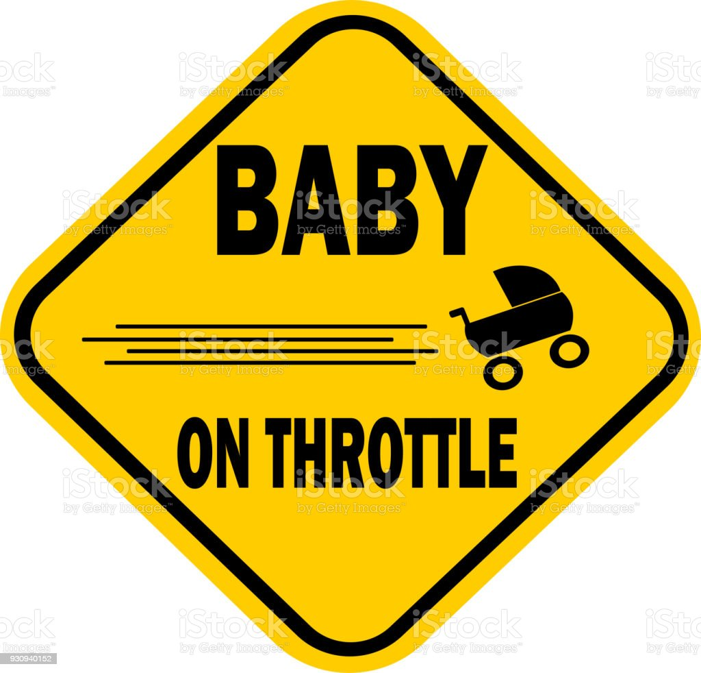 funny baby on throttle vector art illustration