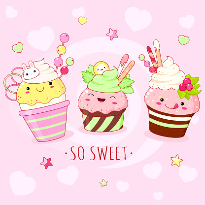 Funny background with cute sweet foods in kawaii style