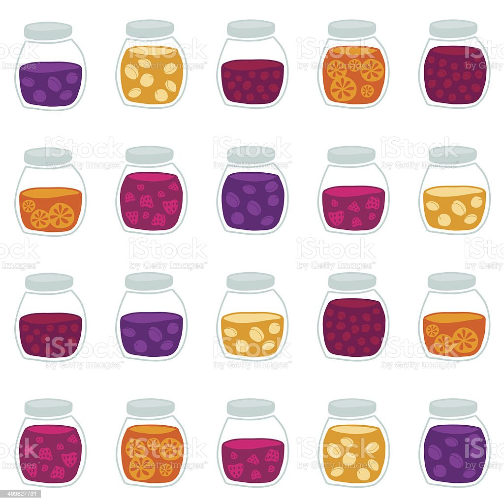 Funny background with the fruit jam jars. Seamless vector pattern. royalty-free stock vector art