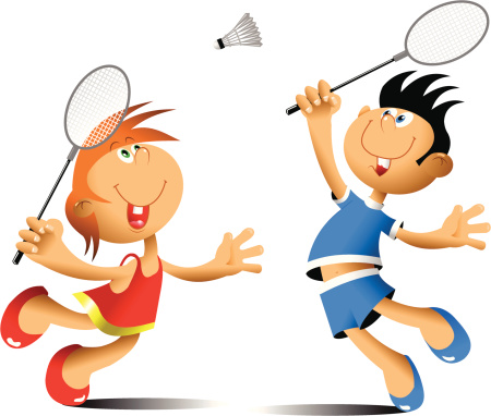 Funny Badminton Stock Illustration - Download Image Now
