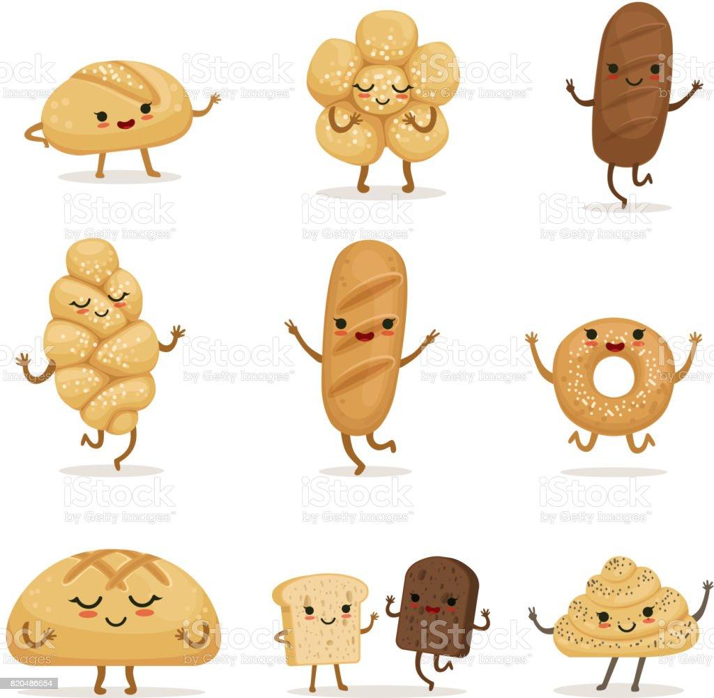 Aliments de boulangerie drôle avec différentes émotions. Personnages de vecteur dans le style de dessin animé - Illustration vectorielle