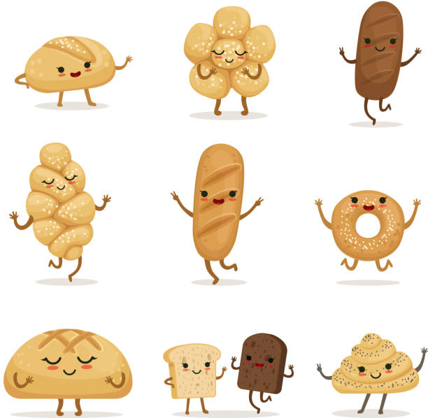 Funny bakery food with different emotions. Vector characters in cartoon style Funny bakery food with different emotions. Vector characters in cartoon style. Face character bread illustration bread clipart stock illustrations