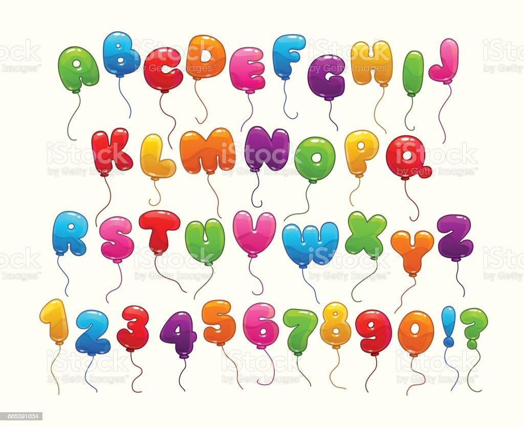 Funny balloon alphabet vector art illustration