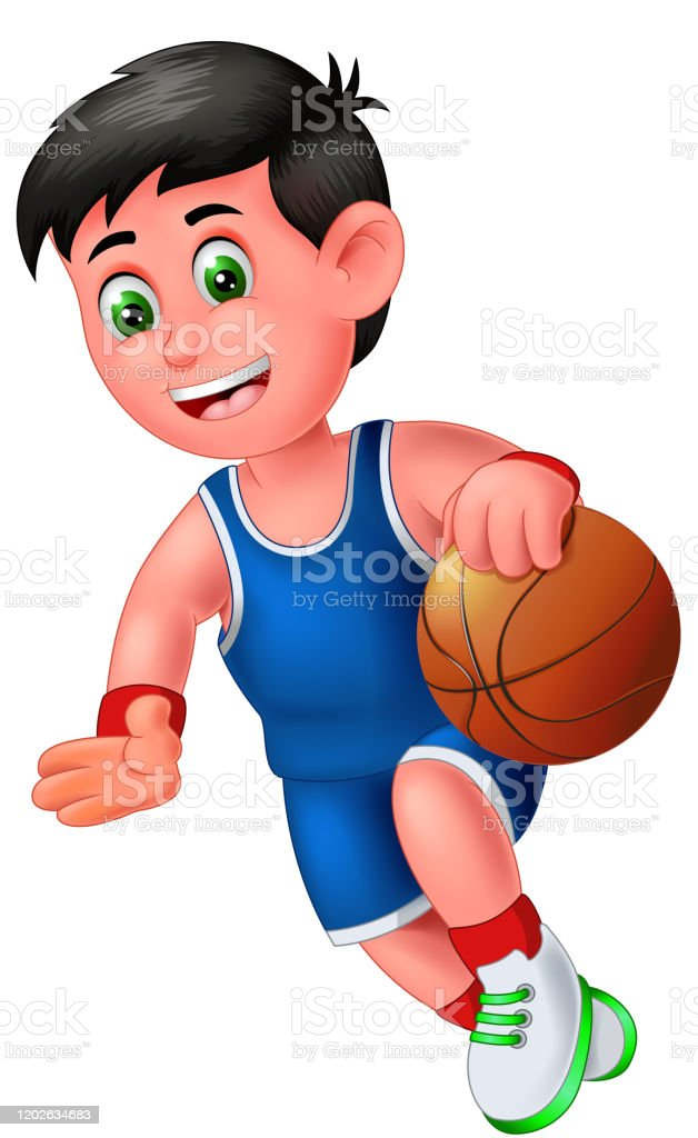 Funny Basketball Player Boy In Blue Uniform Cartoon Stock Illustration Download Image Now Istock