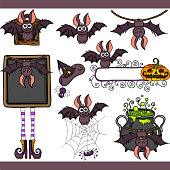 Scalable vectorial representing a funny bat set digital elements for design, illustration isolated on white background.