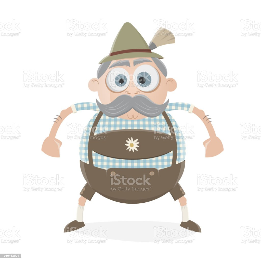 funny bavarian man in lederhosen vector art illustration