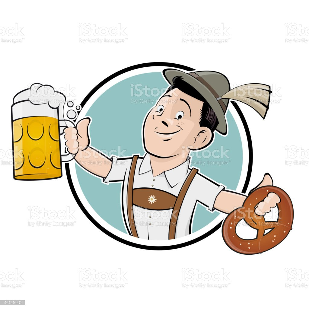 funny bavarian man with beer and pretzel vector art illustration