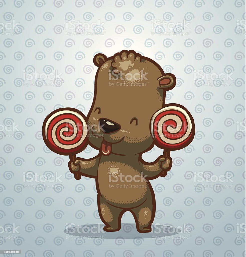 Funny bear cub with candies royalty-free stock vector art