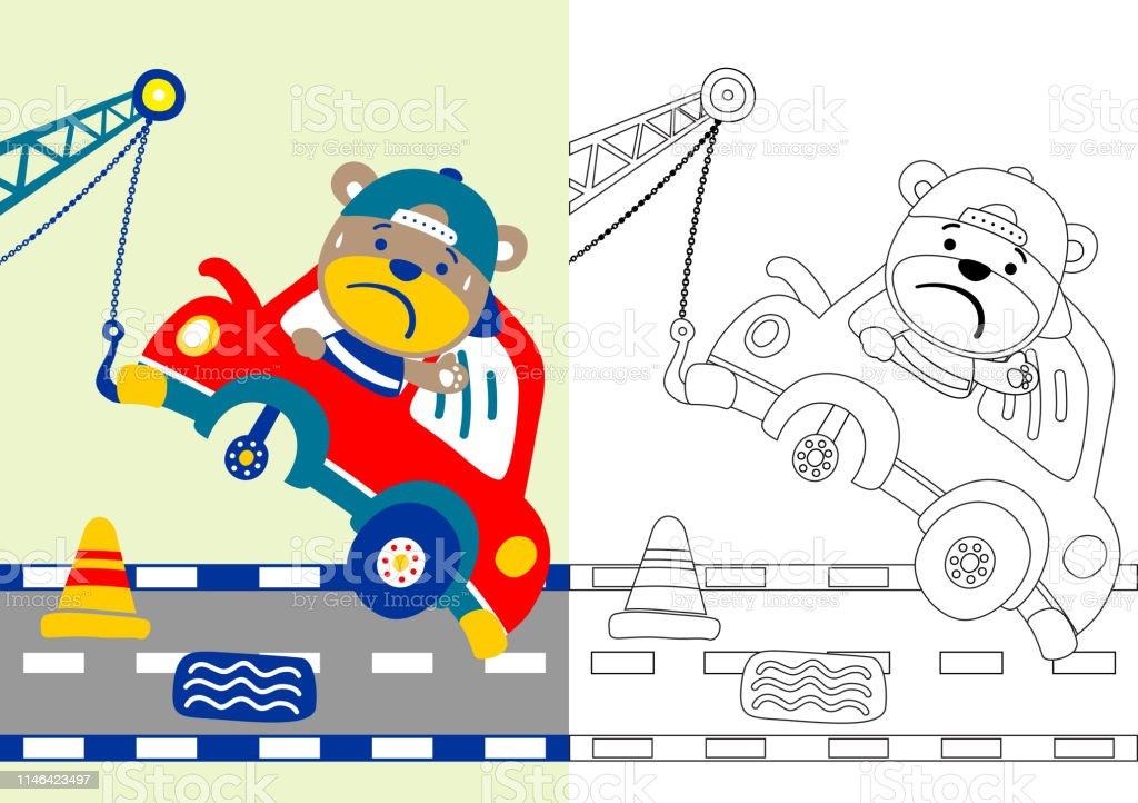 Ilustración De Oso Divertido En El Accidente De Coche En La