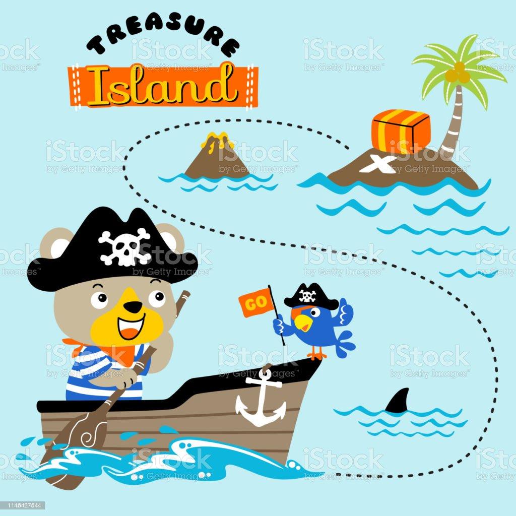 Funny bear the pirate the treasure hunter on canoe, vector cartoon...