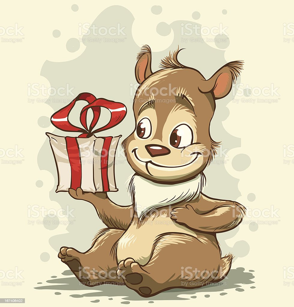 Funny bear with a gift in paws royalty-free stock vector art