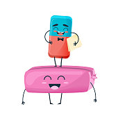 Funny beautiful eraser, laugh, smile, one stands on other