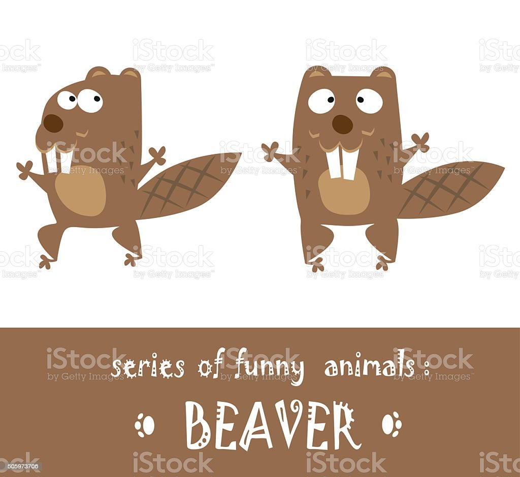 Funny beaver drawn in baby style isolated on white background vector art illustration
