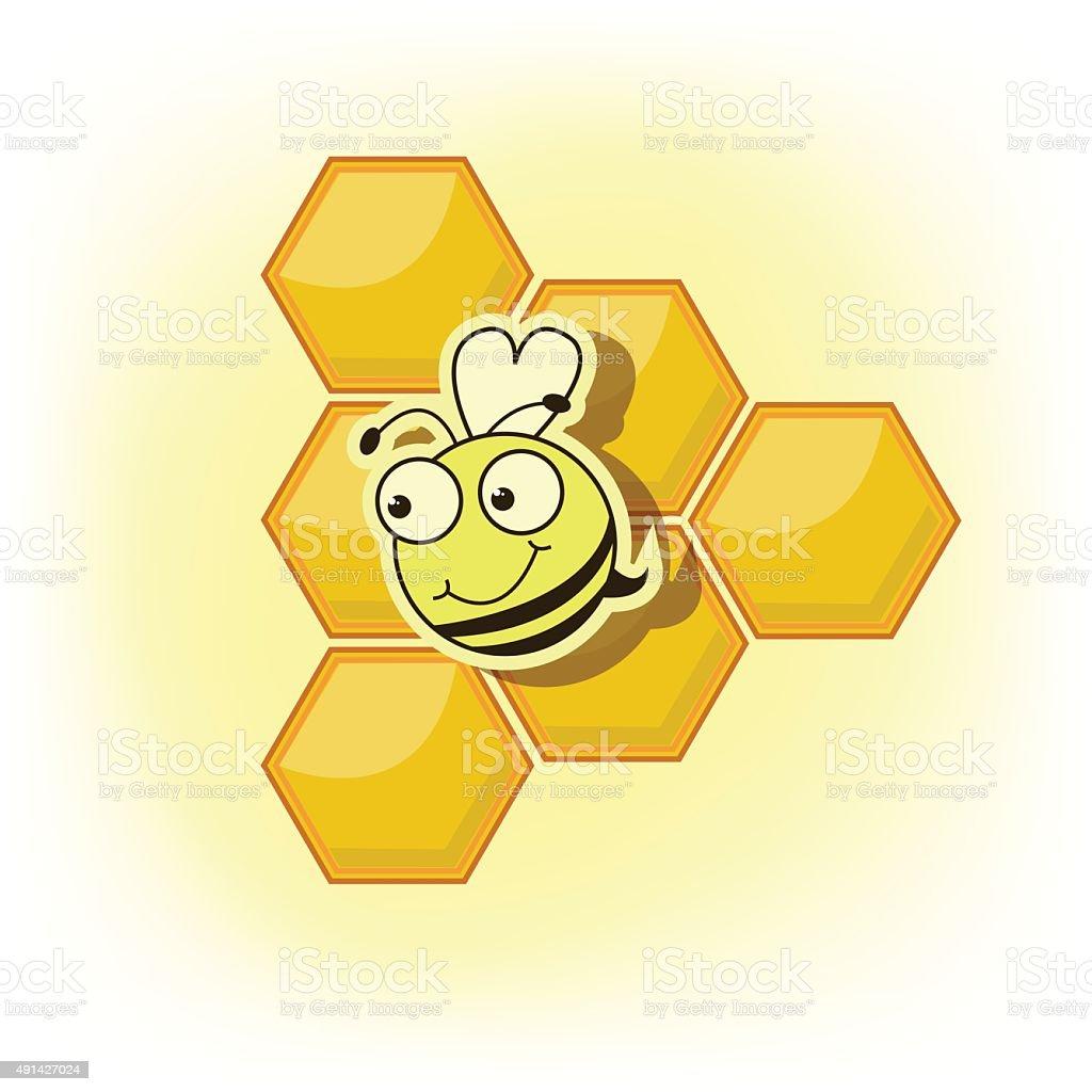 Lustiger Bienenfresser auf einem Hintergrund von Gelb mit Wabenstruktur mit Honig – Vektorgrafik