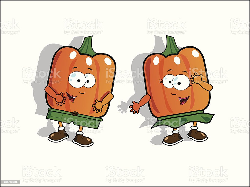 Funny bell peppers vector art illustration