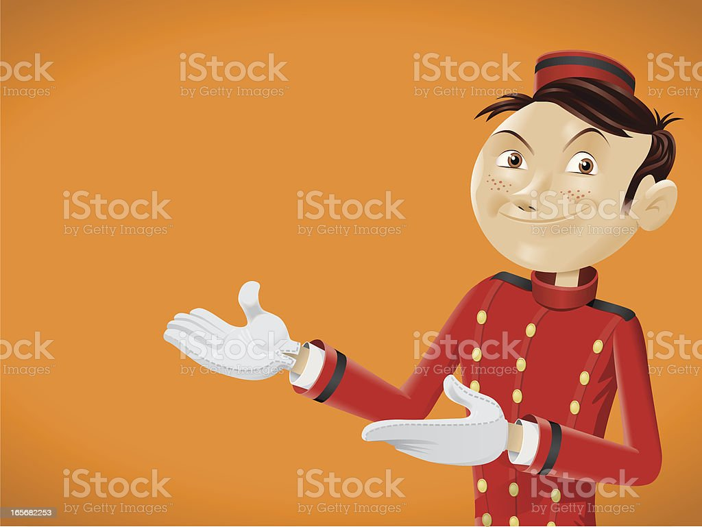 Funny bellboy doing come in gesture royalty-free stock vector art