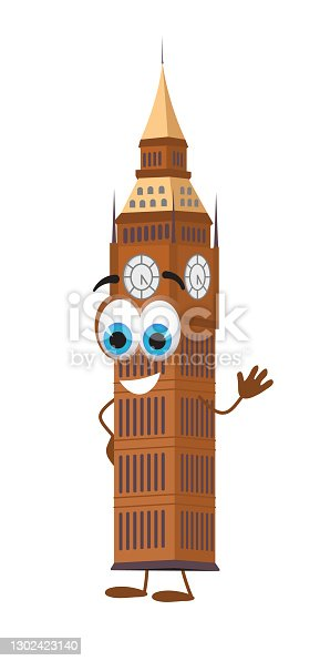 istock Funny Big Ben Tower on white background, flat design vector illustration 1302423140