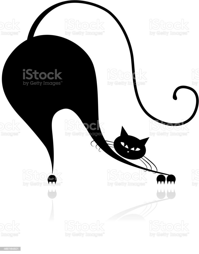 Funny big cat silhouette for your design vector art illustration