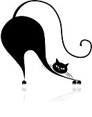 Funny big cat silhouette for your design